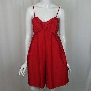 Jill Stuart Red Taffeta Strapless Bow Dress